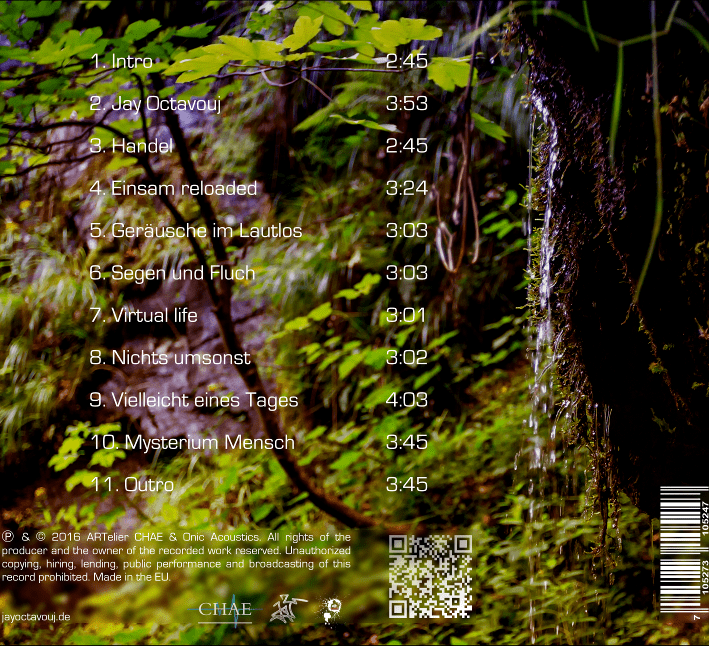 "CD Cover ""Wer nicht oktaviert, verliert"" WNOV by Jay Octavouj Rückseite"